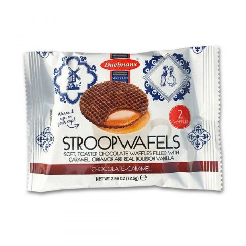 Chocolate Caramel Wafers Dutch Waffles Biscuits Stroopwafels Daelmans 2 Pack 72.5g
